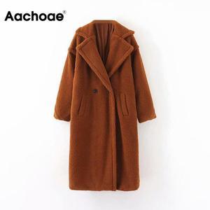 Winter Casual Solid Teddy Coat Women Long Sleeve Fleece Long Jacket Lady Turn Down Collar Lamb Fur Coat Outerwear Fourrure Femme(China)