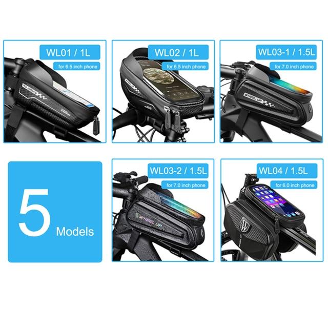 Newboler bolsa de ciclismo à prova de chuva, estojo para celular, touch screen, mtb, acessórios de bicicleta, para cano superior, refletor 6