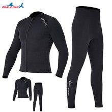 Dive sail 2mm Premium diving suit for men women wetwuit pants Split body jacket-pants Neoprene Swimwear black keep Warm Black