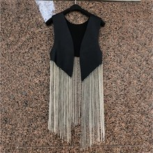 2019 Summer New Style Street Metal Chain Tassel Pu Leather Wild Wear Vest Casual Women Cardigan Patchwork Black
