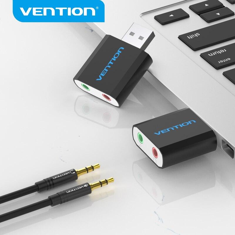 Vention usb placa de som interface de áudio usb adaptador de fone de ouvido soundcard para microfone alto-falante computador portátil ps4 placa de som externa