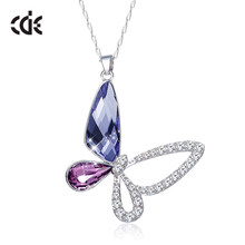 CDE 925 Sterling Silver Necklace Embellished with crystals from Swarovski Butterfly Pendant Necklace Chain Jewellery Collares(China)