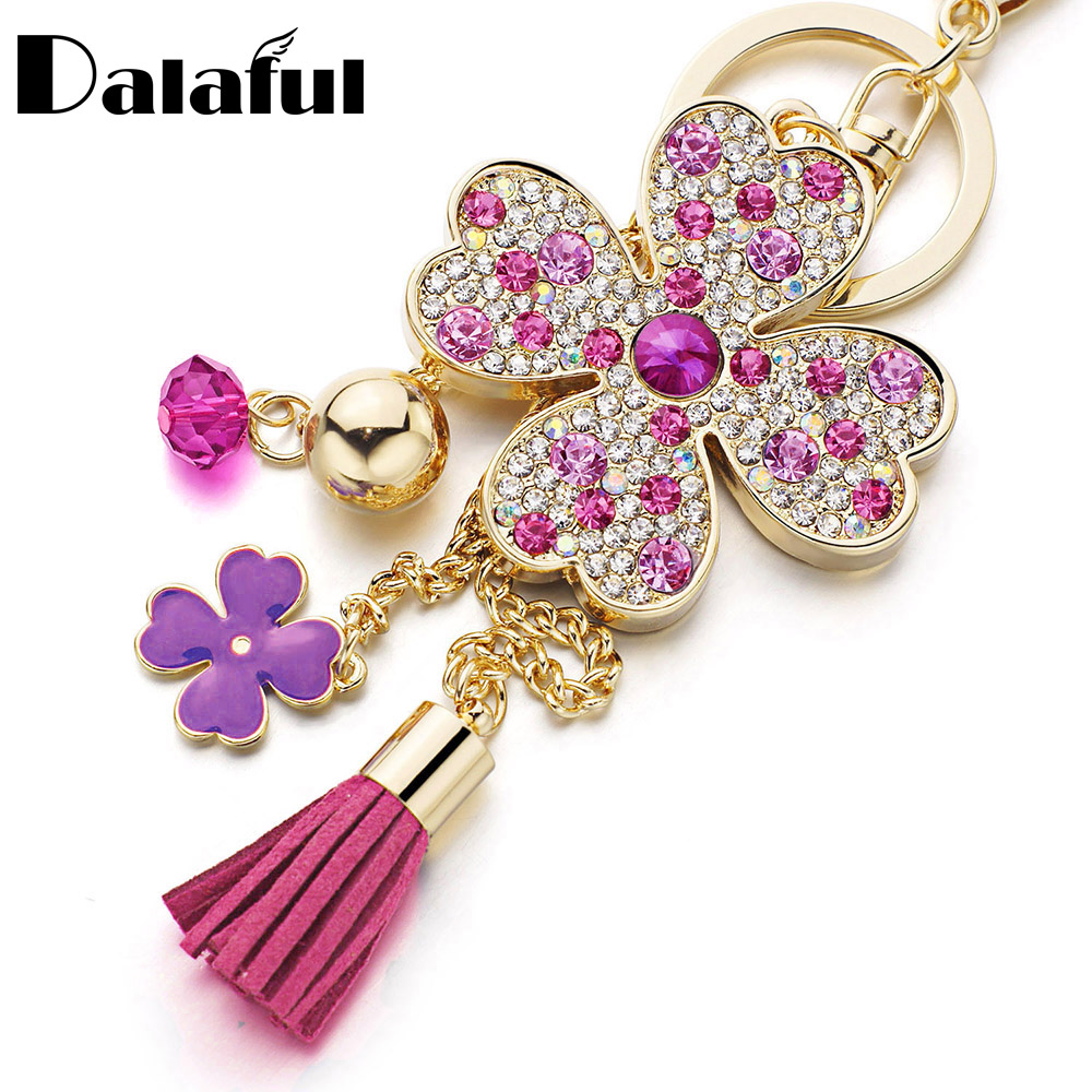 Dalaful Lucky Four Leaves Clover Crystal Key Ring Chains Holder Tassel Bag Buckle Pendant For Car Keyrings KeyChains K304