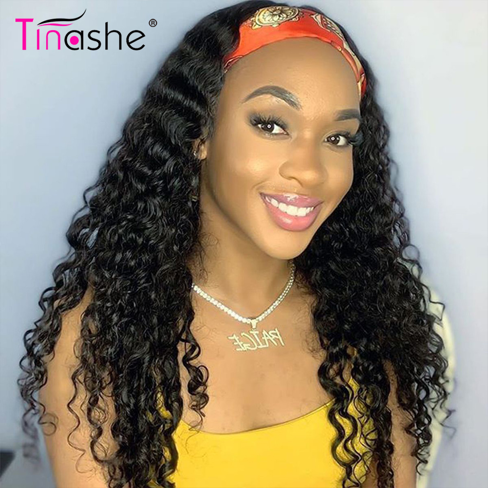 Tinashe Fascia Parrucca Onda Profonda dei capelli Umani Parrucche 150 Densità di Remy Del Brasiliano Chic Sciarpa Della Fascia Della Parrucca Per Le Donne Nere Profondo onda Parrucca