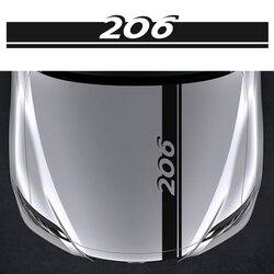 Capô Estilo do carro Guarnição Tampa Do Motor Capô Decalques para Peugeot 206 Automóvel Decoração Vinil Gráfico Tarja Adesivos Acessórios