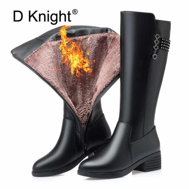 ของแท้หนังสตรีเข่าสูงรองเท้าบูท Winter Plus กำมะหยี่ขนสัตว์ Lady รองเท้าส้นสูงรองเท้าผู้หญิงอุ่นหญิง snow Boot