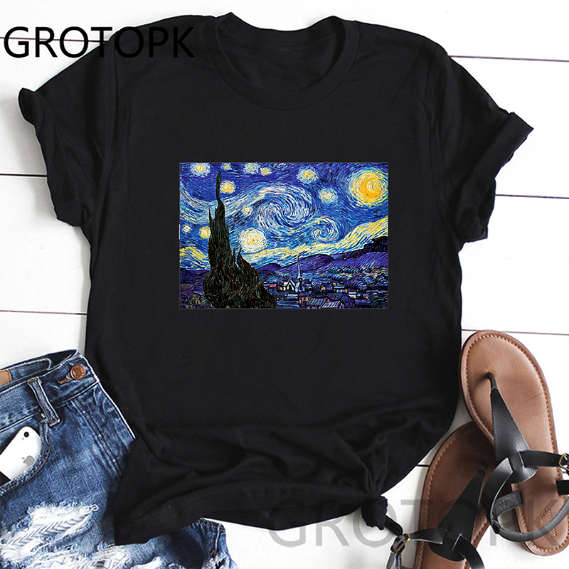 Vincent Van Gogh Print Cute O-Neck Summer Printed Casual Women T Shirt Short Sleeve Comfortable Fabric Tshirts