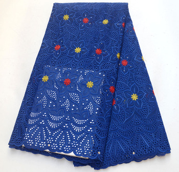 Hot Selling High quality Royal Blue Cotton Lace african Swiss Voile Lace Fabric With Stones Nigeria Wedding Fabric
