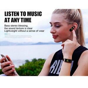 Image 2 - Smartwatch y3 plus com bluetooth, pulseira fitness rastreadora de saúde, fone de ouvido música