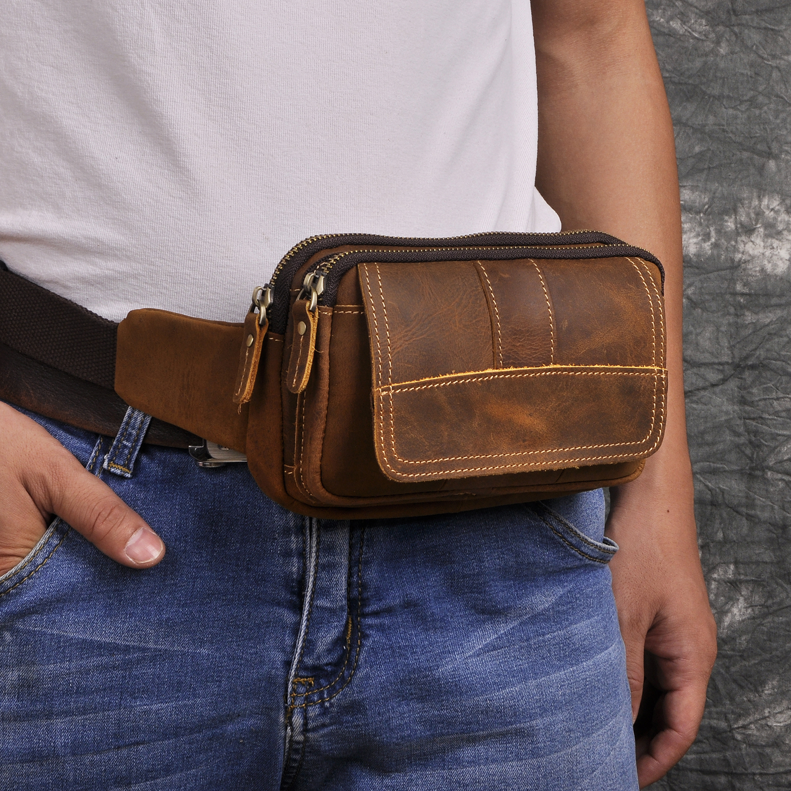 Quality Leather Men Casual Fashion Travel Crossbody Waist Belt Bag Chest Sling Bag Cowhide Design Phone Cigarette Pouch 341-b