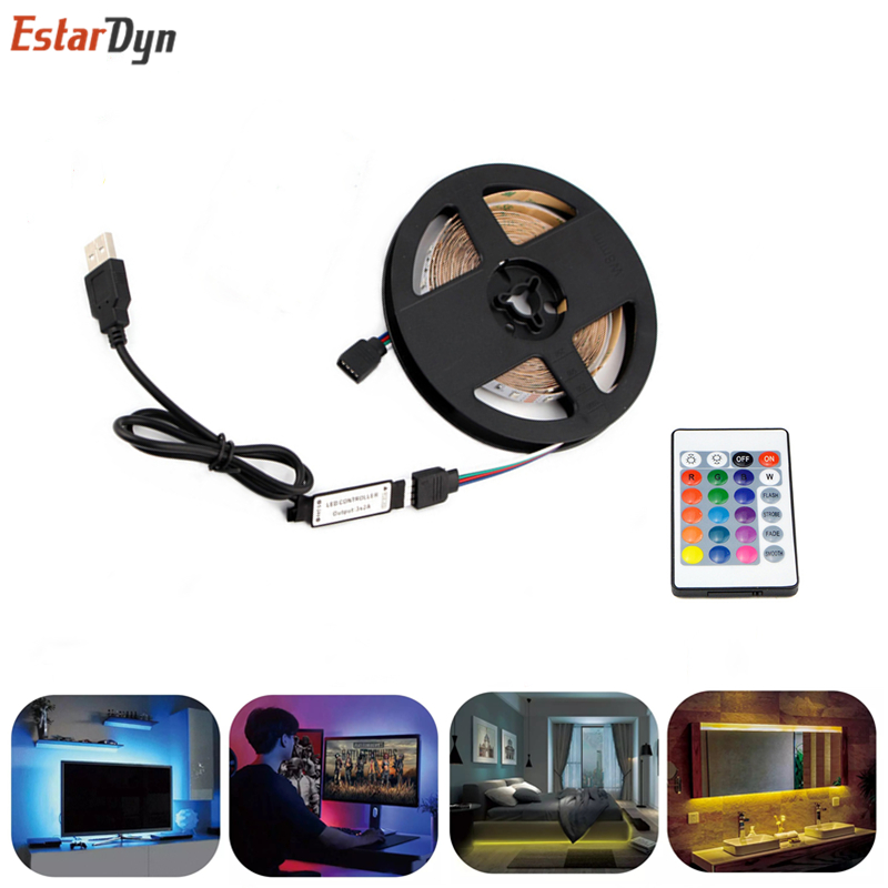 USB LED Strip Lamp 2835 SMD DC5V Flexible LED Light Tape Ribbon 1M 2M 3M 4M 5M HDTV TV Desktop Screen Backlight Bias Lighting