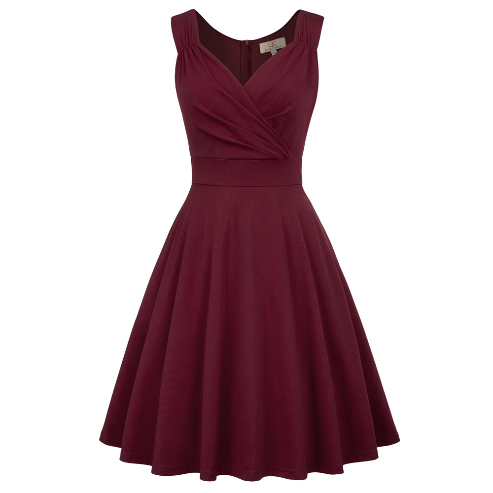 Grace Karin Women Vintage A-line Midi Party Dress Sleeveless V Neck Flare Swing Dress Retro Burgundy Pleated Summer Dresses 2020