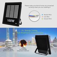 220V Led Outdoor Rectangular Spotlight Floodlight 100W Wall Washer Lamp Reflector Waterproof Light Cool White