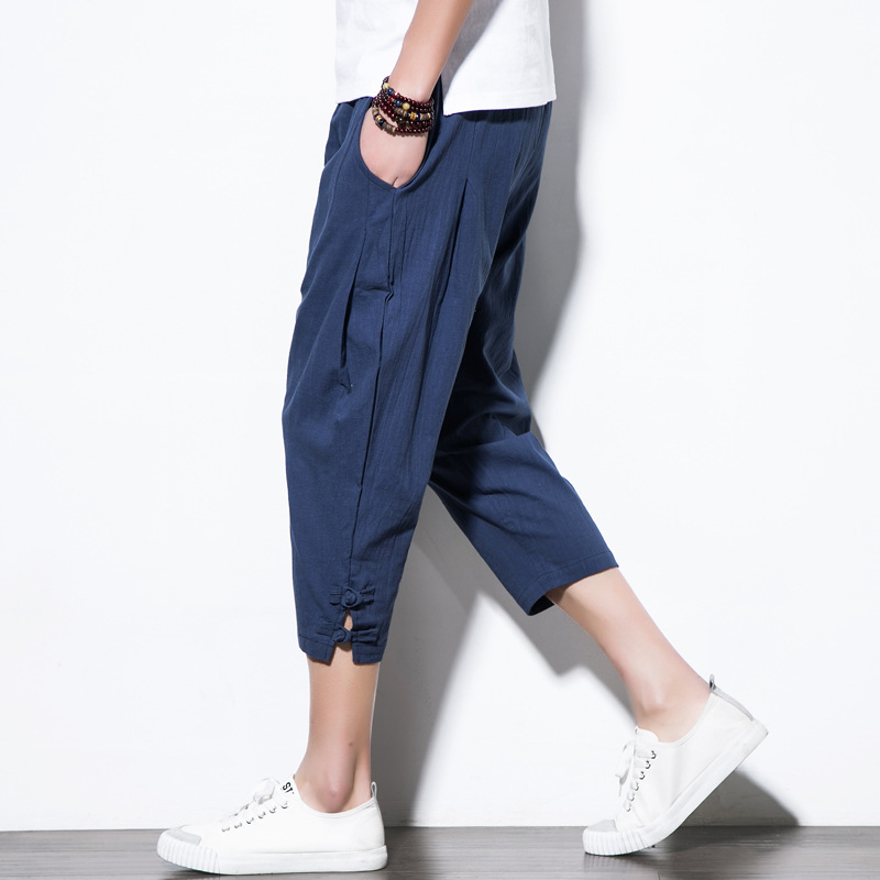 Chinese-style Summer Wear Men's 2019 New Style Men Retro Frog Loose-Fit Capri Pants Ethnic-Style Solid Color Casual Pants