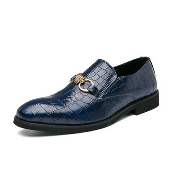 Męskie skórzane mokasyny łuska krokodyla mokasyny Trend młodzieżowe mokasyny wsuwane buty do jazdy samochodem wypoczynek mokasyny biznesowe tanie i dobre opinie L SOLD CN (pochodzenie) Skóra Split RUBBER 886037 Slip-on Pasuje prawda na wymiar weź swój normalny rozmiar Stałe Dla dorosłych
