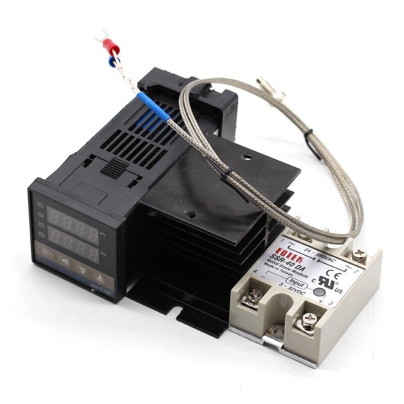 Contrôleur de température numérique PID 220 REX-C100 V + max.40A SSR + K pour Thermocouple + dissipateur thermique