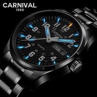 Relogio Masculino Carnival Luxury Brand Men Quartz Wrist Watch Mens Fashion Carbon Fiber T25 Tritium Luminous Waterproof Clock