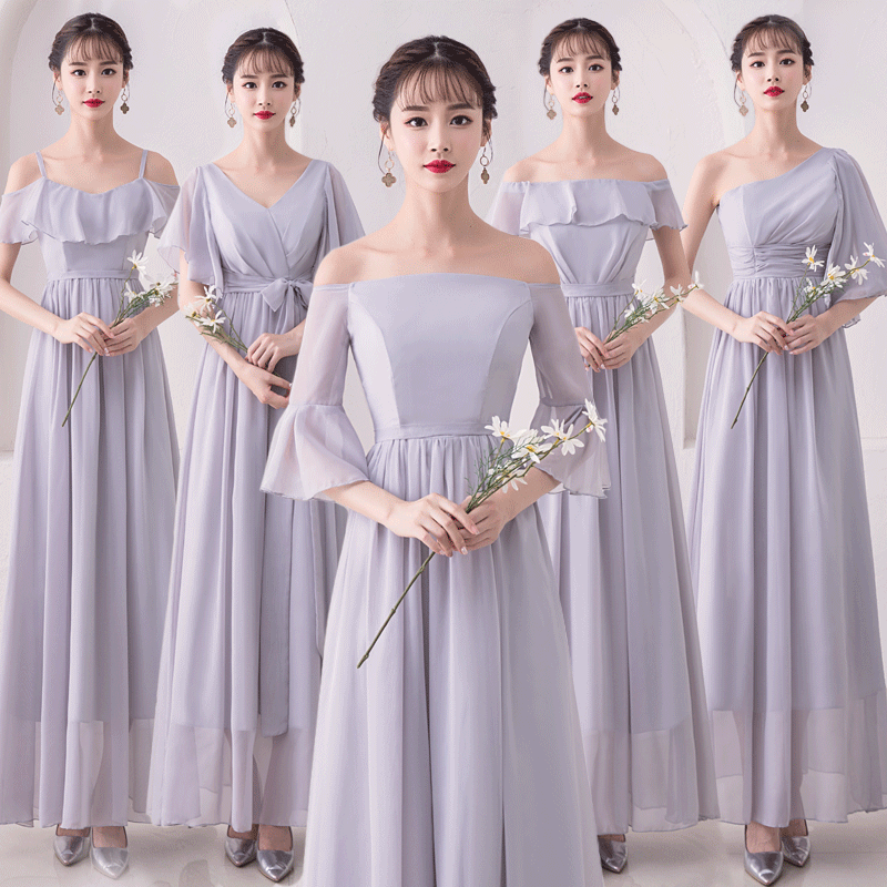 Junior Bridesmaids Dresses Chiffon Elegant Long Dress For Wedding Party For Woman Ruffles Vestido De Festa Longo Long Prom Dress