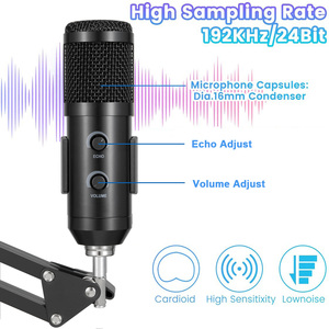 Image 2 - USB Microphone Kit 192KHZ/24BIT Professional Podcast Condenser Mic For Gaming Computer PC YouTube With Adjustable Boom Arm Stand