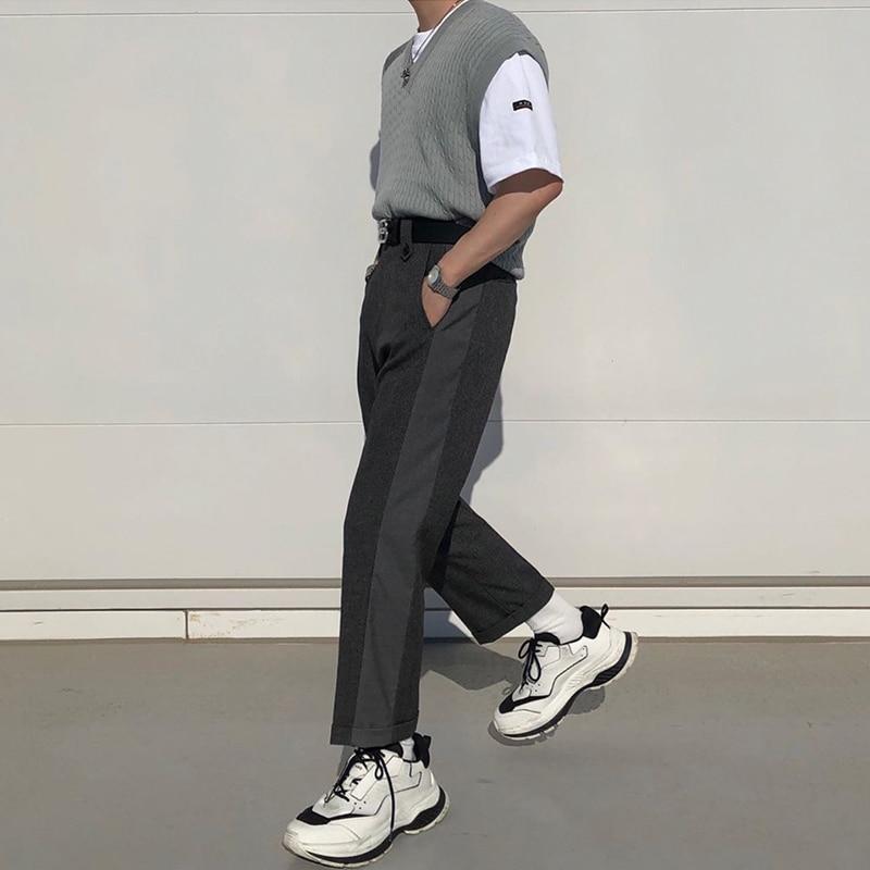 Men Fashion Casual Suit Pant Male Splice Design Japan Vintage Streetwear Fashion Trousers