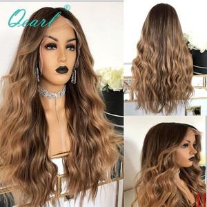 Brown loira destaques cor do cabelo humano peruca dianteira do laço 250% 180% de alta densidade brasileiro remy ondulado perucas cabelo 13x4 qearl