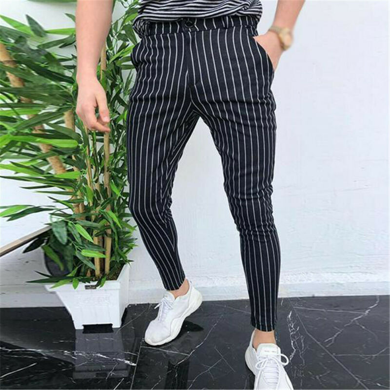 Fashion Men`s Straight Office Skinny Plaid Trousers Casual Slim Fit Stripe Button Business Formal Pants