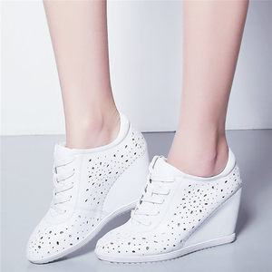 Image 3 - Trainers Women Breathable Genuine Leather Wedges High Heel Pumps Shoes Female Lace Up Summer Platform Ankle Boots Casual Shoes