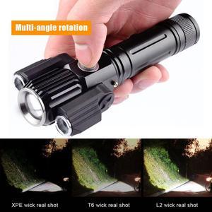 Светодиодный фонарик, портативный зум-бар, суперъяркий светодиодный фонарик T6, 4 режима, регулируемые водонепроницаемые фонарики для спорт...