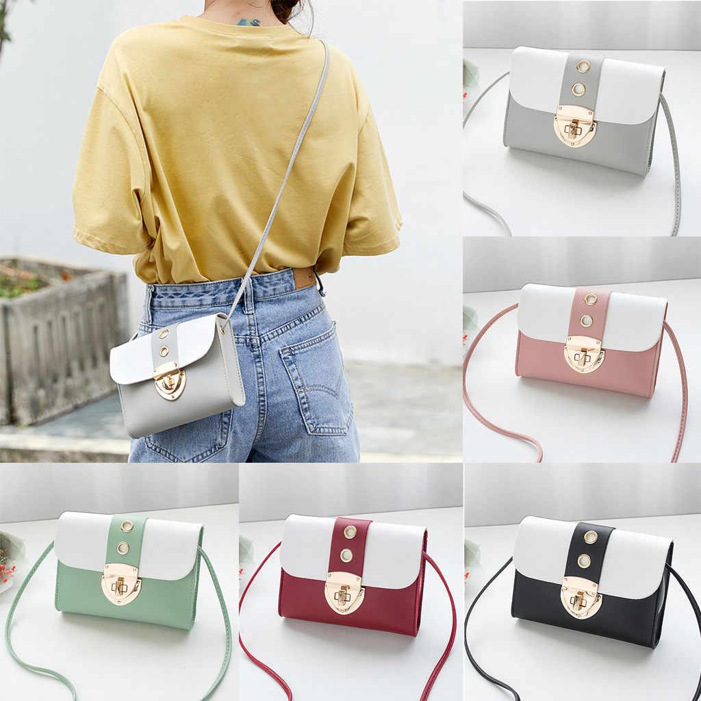 Fashion Tas Wanita 2019 Kunci Kulit Tas Bahu Gaya Jepang Perjalanan Messenger Bag Warna Solid Tas Ponsel Mini