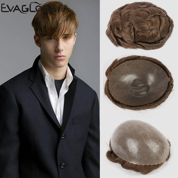 EVAGLOSS Man Wigs 0.12-0.14mm Full PU Human Hair Toupee Men Prosthetic Hair Unit Male Wig Full PU Replacements Toupee For Mens bymc breathable men s hair toupee full pu 100