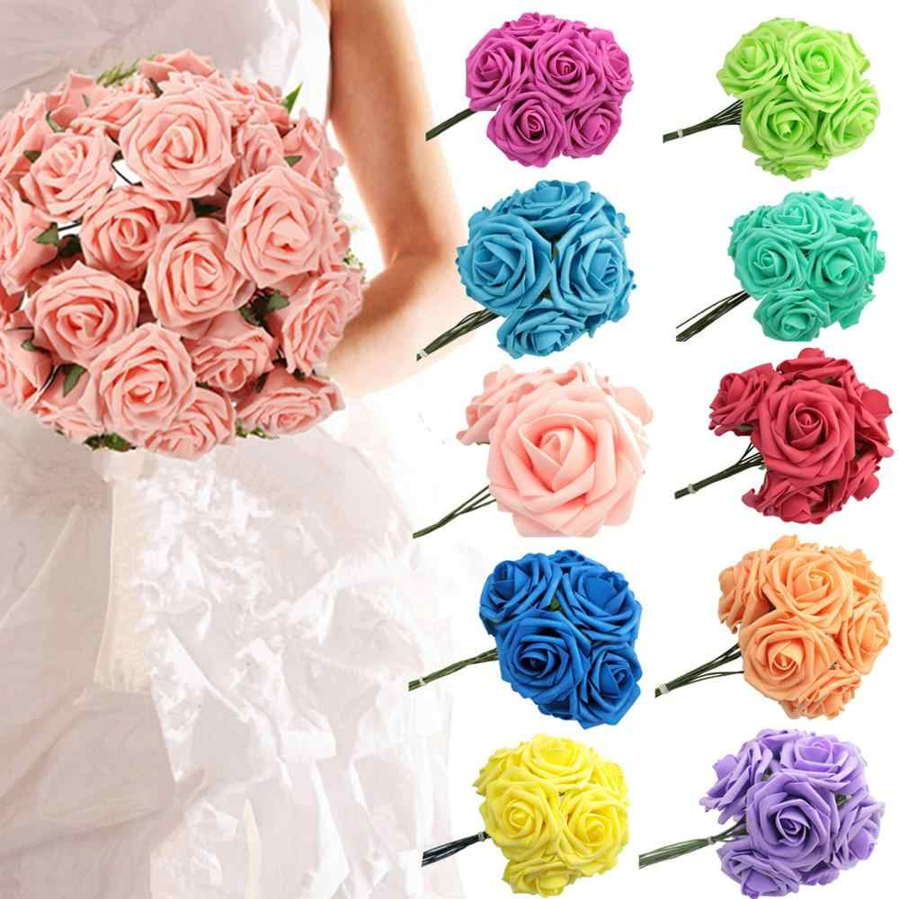 5 ヘッド 10 ヘッド 8 センチメートル多色魅力的な人工花の pe フォームバラ花嫁のブーケホーム結婚式の装飾スクラップブッキング D