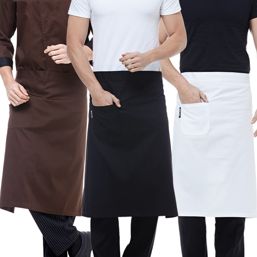 Waiter Kitchen Wear Men Chef Uniform Polyester Striped Women Waitress Restaurant Cook Costumes Cafe Pocket Chef Aprons