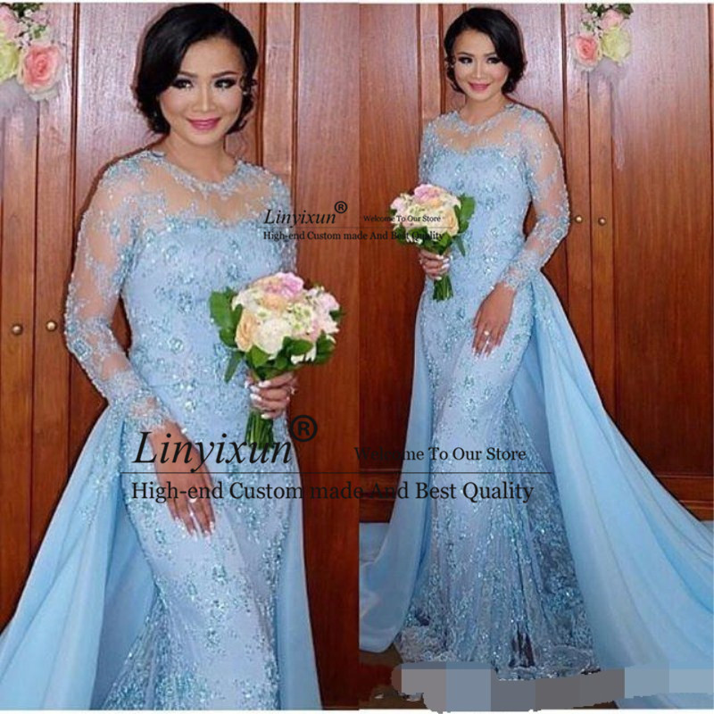 2020 Light Blue Long Sleeves Mermaid Evening Dresses Appliques Lace Formal Evening Gowns With Detachable Skirt Vestidos Arabic