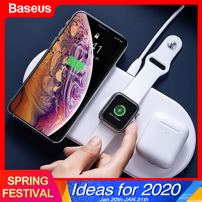 Baseus 3 In 1 Qi Wireless Charger For Airpods Apple Watch 4 3 2 1 IWatch Fast Wireless Charging Pad For IPhone 11 Pro Xs Max X