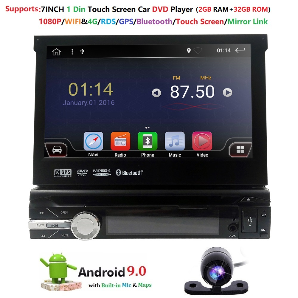 Single 1 Din 7 Android 9.0 GPS Flip Car Stereo Radio Player Touch Screen USB SD 2GRAM 4GWIFI BT SWC RDS DVR DAB DVBT MirrorLink image
