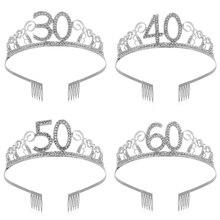 30 40 50 дней рождения вечерние украшения для взрослых с украшением в виде кристаллов Стразы тиара принцессы корона, повязки для волос, аксессу...