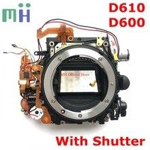 Segunda mano para Nikon D600 D610 Marco de cuerpo principal delantero caja de espejo con abertura de obturador Motor difragm unidad de cámara pieza de reparación