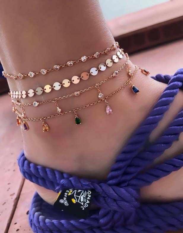 Bohemian สำหรับผู้หญิงคริสตัลชั้นเท้าข้อเท้ารองเท้าแตะ Barefoot Beach ขาสร้อยข้อมือ Halhal เครื่องประดับ