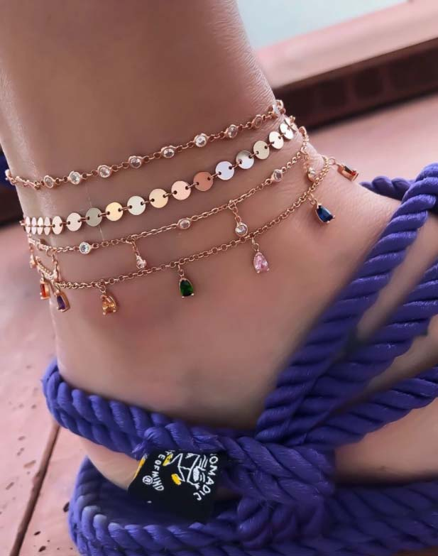 Bohemian Anklet for Women Gold Crystal Layers Foot Chain Ankle Sandals Barefoot Beach Leg Bracelet Halhal Jewelry