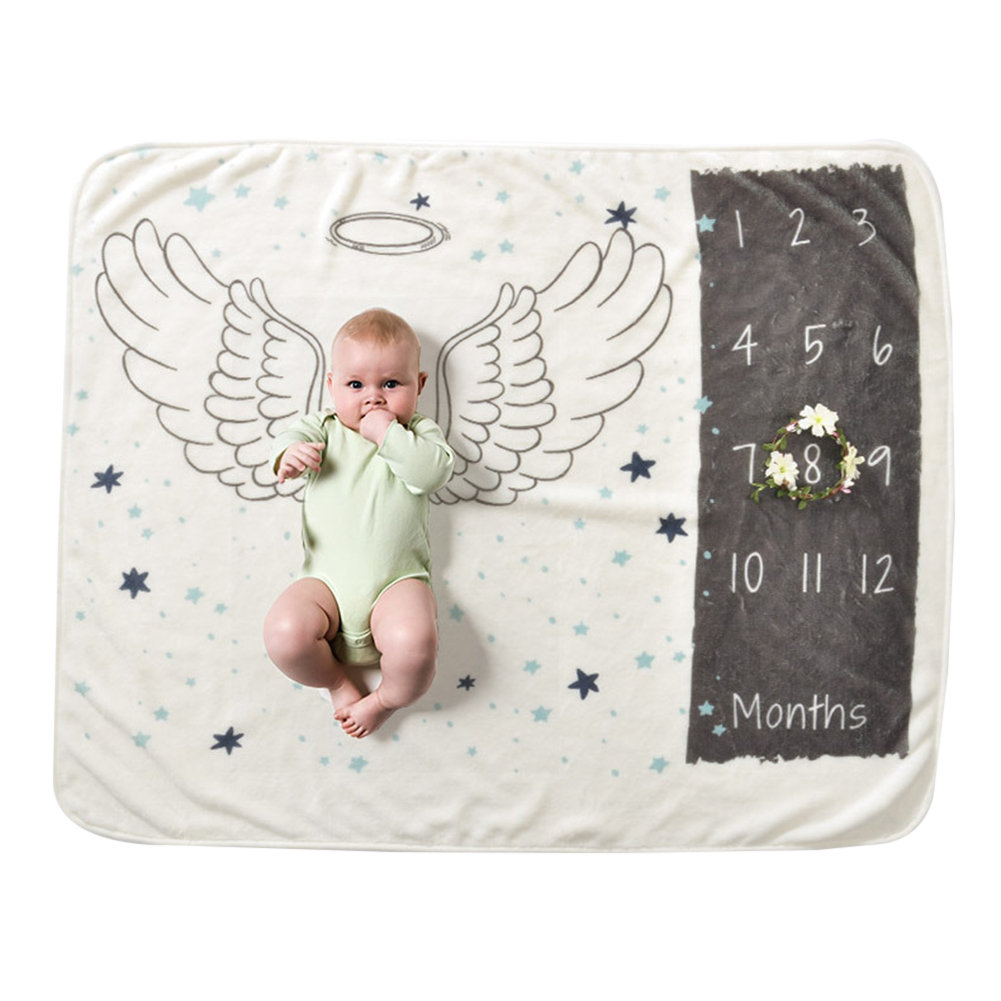 Baby Milestone Blanket Infant Kids Soft Warm Coral Fleece Swaddling Bath Towel Lovely Newborn Baby Bedding Photograp Props