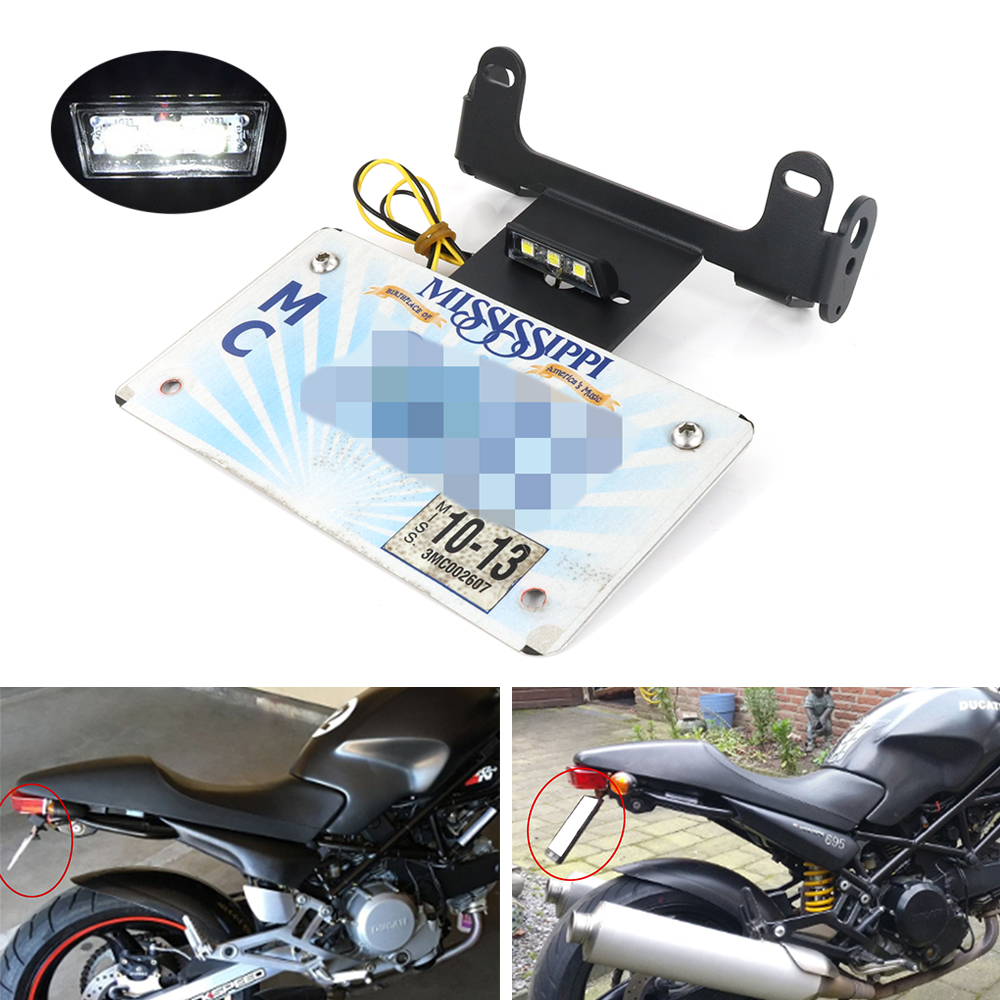 For Ducati Monster 400 620 695 750 800 900 1000 S2 S2r S4 S4r License Plate Holder Bracket Rear Tail Tidy Fender Eliminator Kit