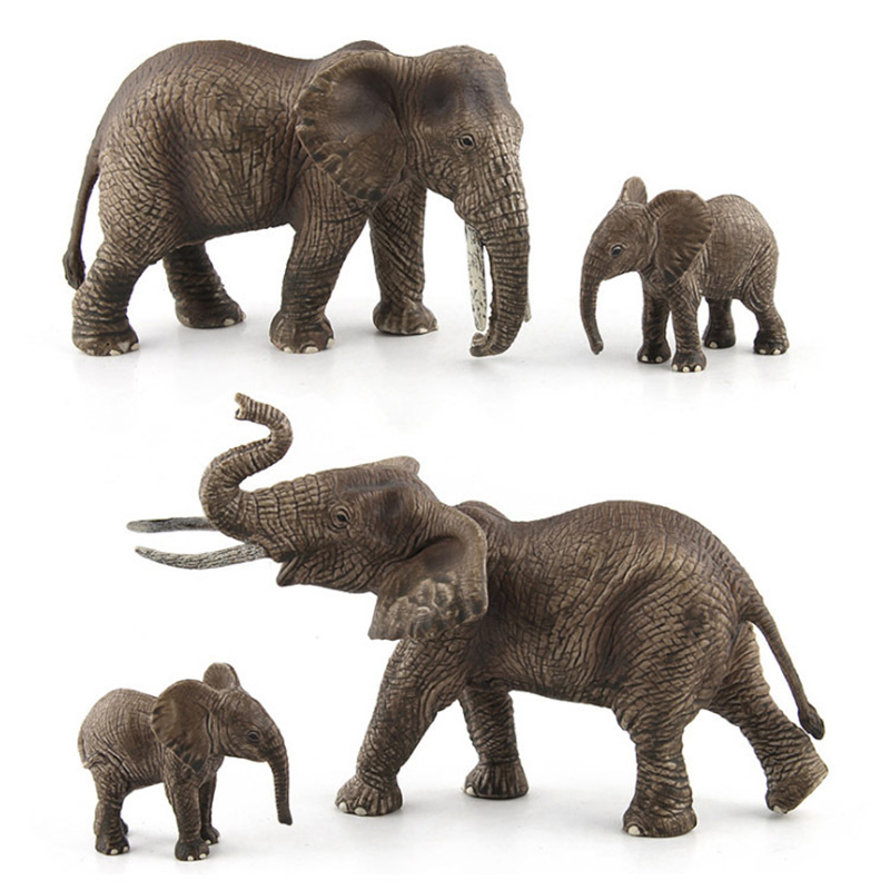 3 Kidns Elephants Family Animal Figure Collectible Toys Wild Animal Action Figures Kids Plastic Model Toy