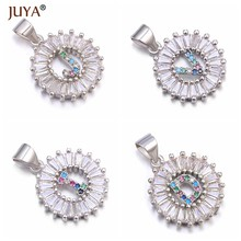 1pcs 22*15mm A-Z colour zircon rhinestone silver letter charms crystal pendants for diy necklace & bracelets jewelry making(China)