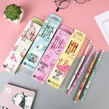 12 Pcs/pack Cartoon Animal Flamingo HB Wood Standard Pencils Set Stationery School Supplies Wooden