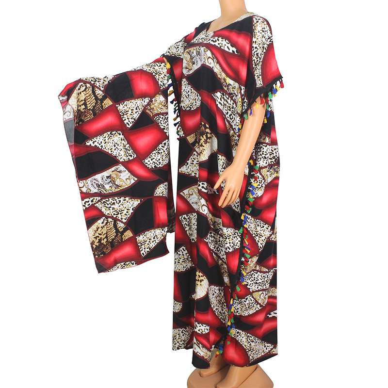 2020 African Dashiki New Arrival Leopard Pattern Print 100% Cotton Tassel Short Sleeve O-Neck Maxi Dress For Women Plus Size