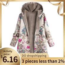 Plush-Coat outer rompevientos con capucha-bolsillos chaqueta femenina Oversize Floral-Print Warm Winter Womens chaqueta Vintage abrigos
