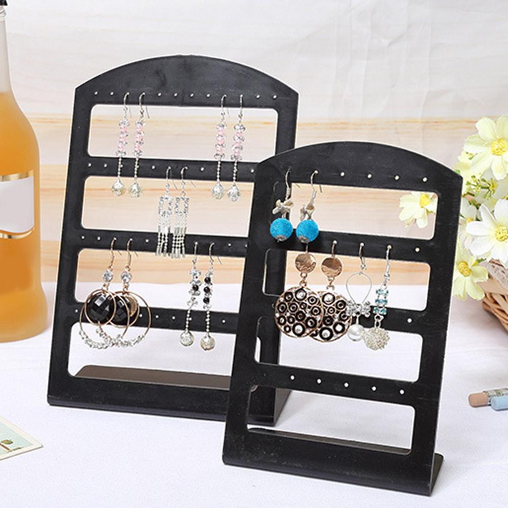 24/48 Hole Women Earring Display Stand Holder Jewelry Show Rack Bracelet Bangle Necklace Storage Stand Watch Holder Black Brinco
