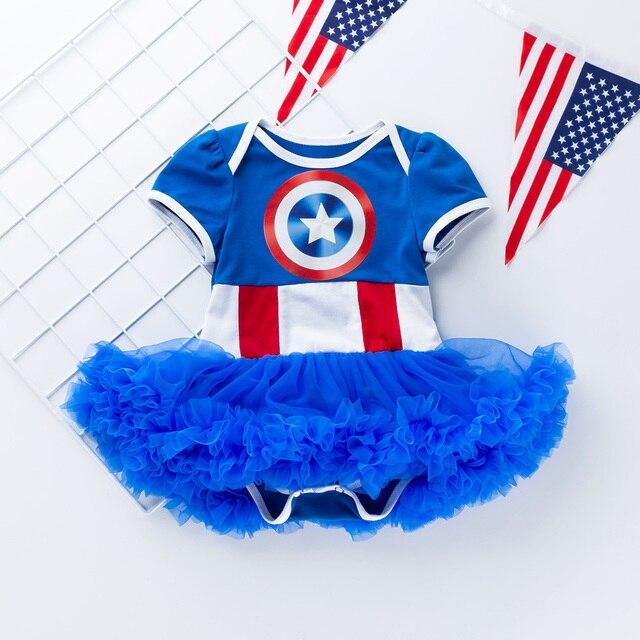 Baby Girl ubrania 2019 letnie pajacyki dziewczyny tutu sukienka noworodka ubrania niebieska bawełna gwiazdy niemowląt kombinezony