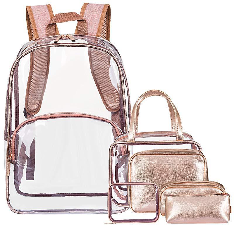 6 ensemble sac Transparent mode femme sac gelée rose Six pièces ensemble Zip PVC sac à dos multifonction sac Transparent femme