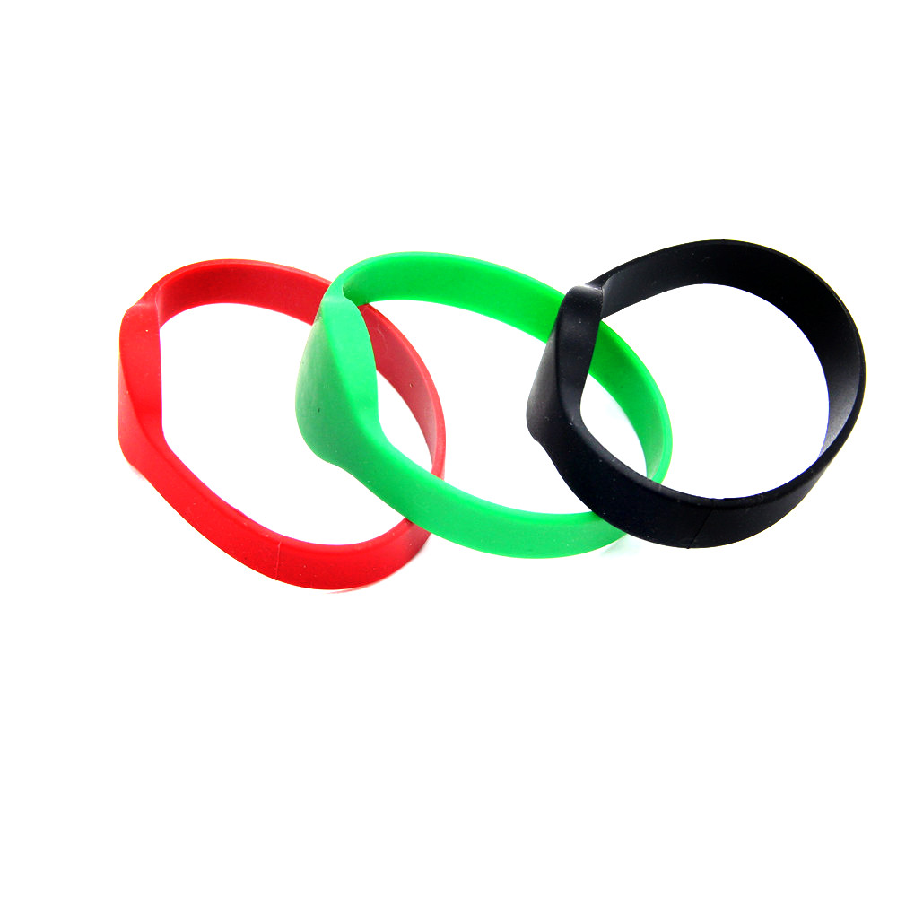 1pcs 13.56Mhz RFID FM11RF08 MF IK S50 IC Waterproof Bracelet Wristband For Token Tag Access Control(Red/Black/Green)